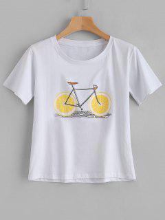 Kurzarm-Fahrrad-Grafik-T-Stück - Weiß 2xl