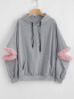 Faux Fur Trim Front Pocket Hoodie - Gray Cloud S