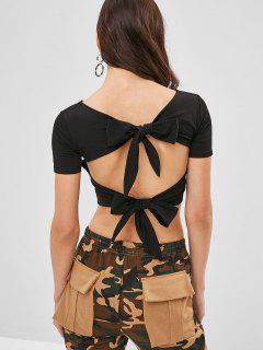 Camiseta Con Espalda Anudada Y Recortada - Negro
