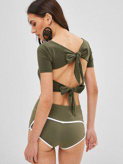 Open Back Knotted Cropped Tee - Army Green