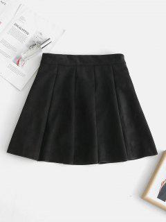 Faux Suede Pleated Mini Skirt - Black L