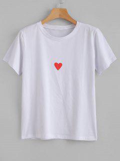 Camiseta Con Gráfico De Corazón De Manga Corta - Blanco M
