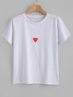Short Sleeve Heart Graphic Tee - White Xl