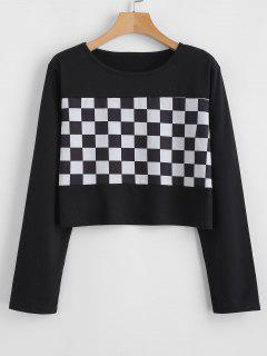 Checkered Long Sleeves Crop Tee - Black L