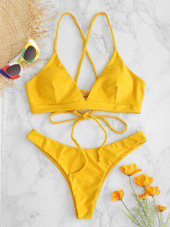 ZAFUL - Bikini-Set Mit Schnürung Und Schnürung - Orange Gold M