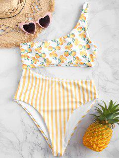 ZAFUL Orange Striped Cutout One Shoulder Swimsuit - Multi-a M