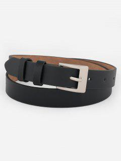 Metal Buckle Artificial Leather Skinny Waist Belt - Black