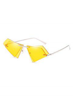 Unique Double Lens Rimless Novelty Sunglasses - Sun Yellow
