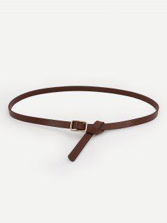 Metal Buckle Skinny Dress Belt - Coffee