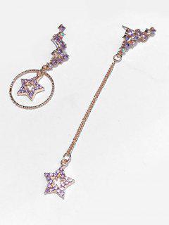 Asymmetric Rhinestoned Star Design Drop Earrings - Tyrian Purple