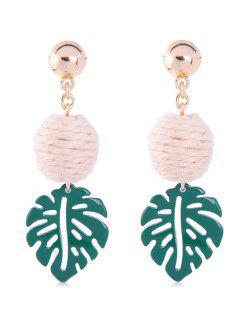 Thread Ball Decor Stud Drop Earrings - Greenish Blue