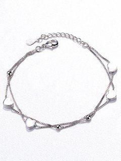 Beaded Heart Shape Bracelet - Silver