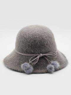 Stylish Bowknot Fuzzy Balls Buckle Hat - Gray