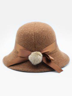 Cute Bowknot Embellished Wool Buckle Hat - Brown
