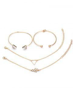 4Pcs Geometric Triangle Design Hollow Bracelets Set - Gold