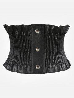 Elegant Wide Corset Elastic Button Belt - Black