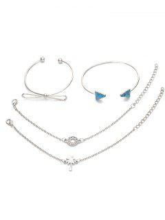 4Pcs Geometric Bowknot Printed Bracelets Set - Silver