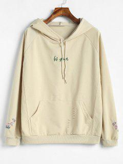 Ripped Front Pocket Embroidered Hoodie - Beige L