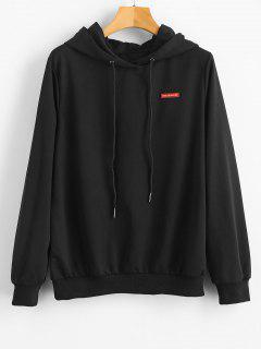Pullover Back Patterned Hoodie - Black S