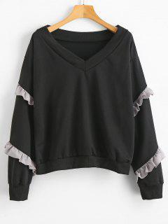 Sweat-shirt Ourlet à Volants à Col V - Noir M
