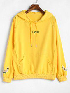 Ripped Front Pocket Embroidered Hoodie - Bright Yellow Xl