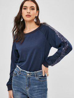 Sweat-shirt à Col Rond à Paillettes - Ardoise Bleue Foncée Xl