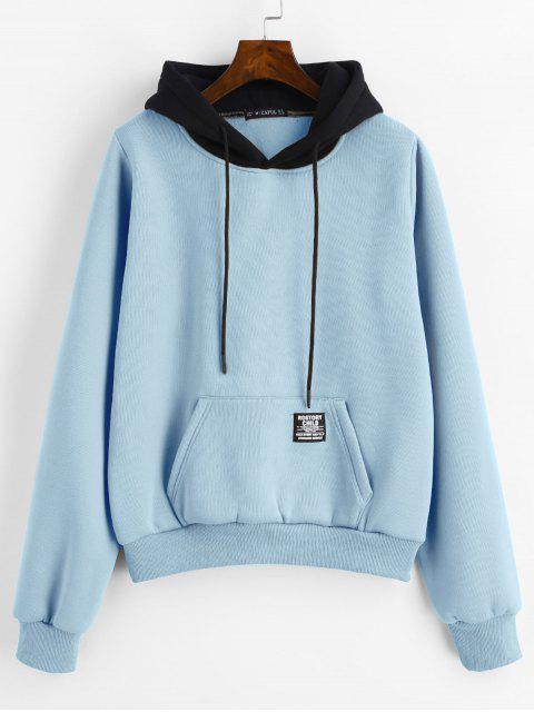 ZAFUL bolsillo de la bolsa Fleece Sudadera con capucha - Azul Denim S Mobile