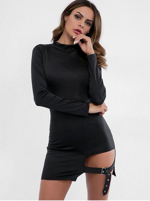 Gürtel verziert Bodycon Kleid ausgeschnitten - Schwarz S Mobile