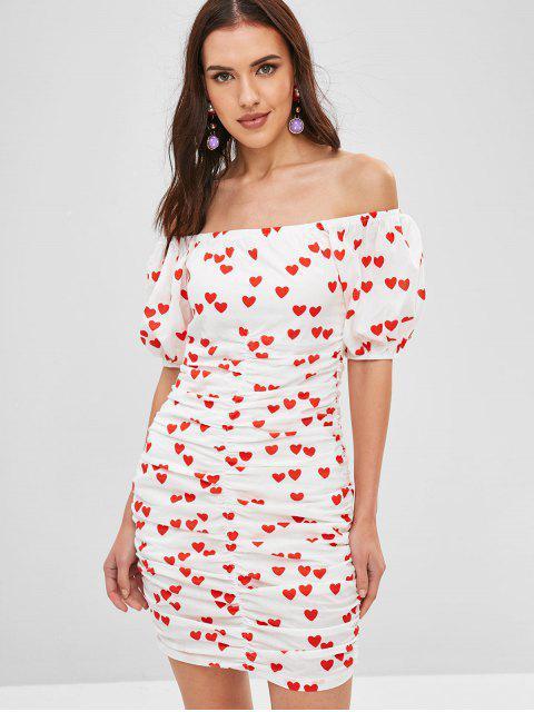 Robe Cœur Imprimé Plissée à Epaule Dénudée Saint Valentin - Blanc M Mobile