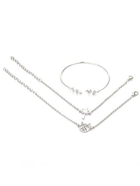 ladies 3Pcs Leaf Hollow Out Cuff Bracelets - SILVER  Mobile