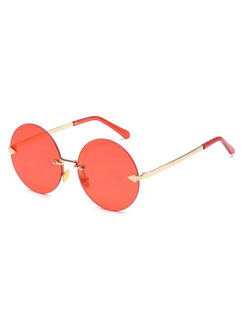 affordable Unique Rimless Flat Lens Sunglasses - RED  Mobile
