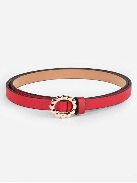 shops Vintage Alloy Floral Buckle Skinny Belt - RED  Mobile