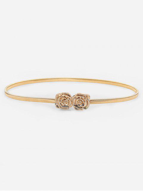 shops Elegant Carving Floral Buckle Skinny Belt - GOLD  Mobile