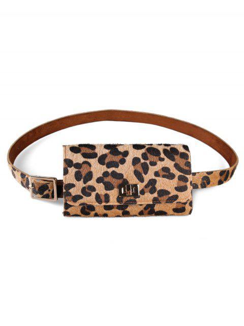 women's Leopard Pattern Fanny Pack Waist Belt Bag - CAMEL BROWN  Mobile