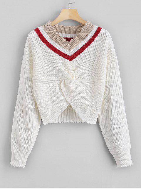 outfits Stripes V Neck Twist Sweater - WHITE ONE SIZE Mobile