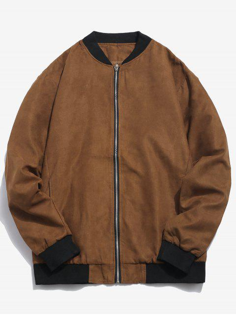 shop Edge Contrast Suede Bomber Jacket - BROWN S Mobile