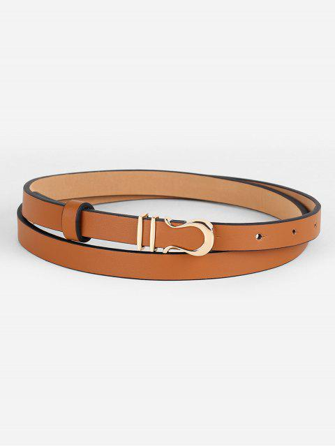hot Vintage Alloy Buckle Faux Leather Skinny Belt - CAMEL BROWN  Mobile