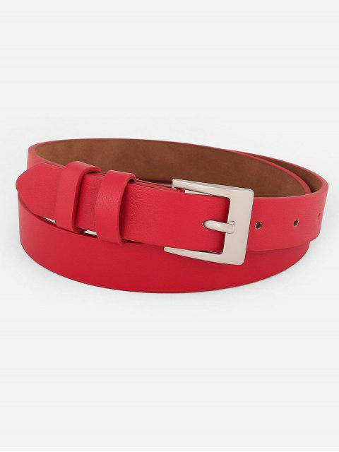unique Metal Buckle Artificial Leather Skinny Waist Belt - RED  Mobile