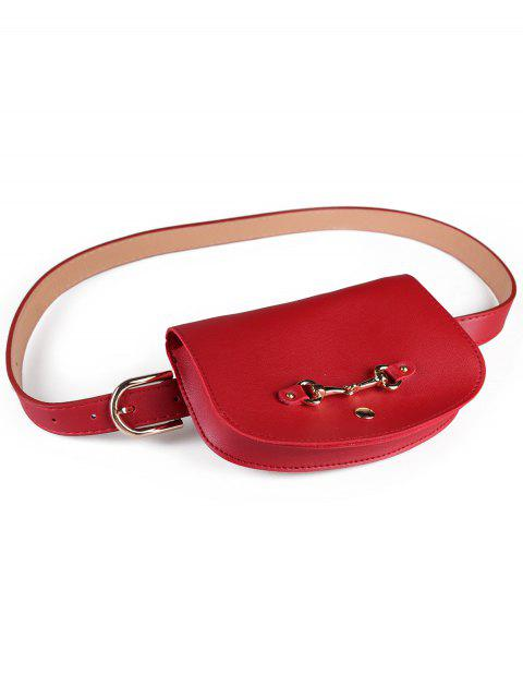 women Retro Pin Buckle Fanny Pack Belt Bag - RED  Mobile