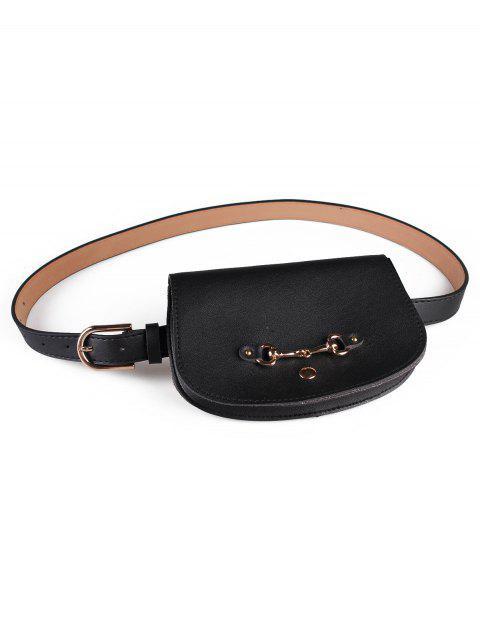 women's Retro Pin Buckle Fanny Pack Belt Bag - BLACK  Mobile