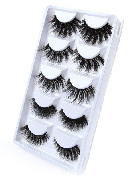 fancy Professional 5 Pairs Cosmetic Natural Homemade False Eyelashes Suit - BLACK  Mobile