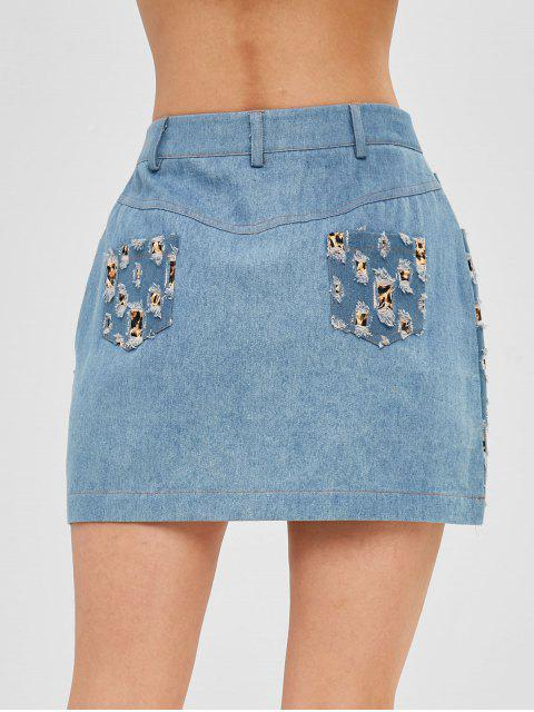 women's Leopard Print Ripped Denim Skirt - DENIM BLUE XL Mobile