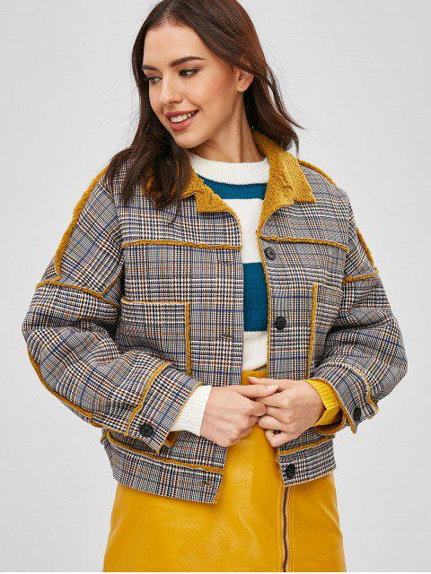new Houndstooth Faux Shearling Winter Coat - MULTI L Mobile