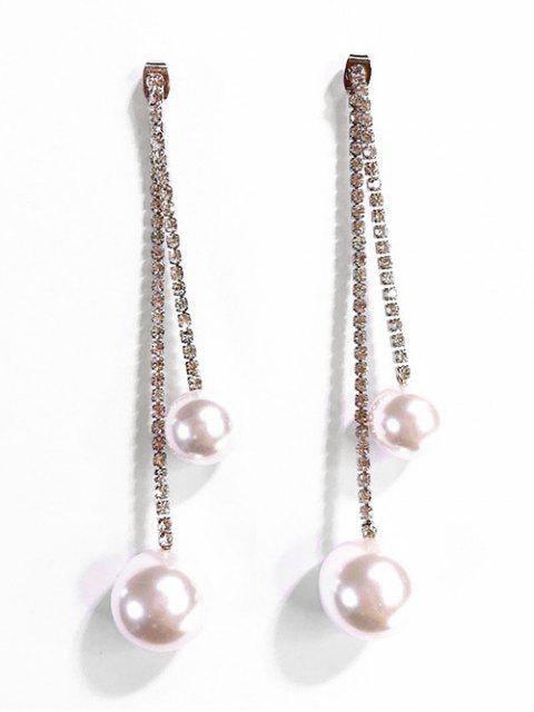 womens Artificial Pearl Decor Stud Drop Earrings - GOLD  Mobile
