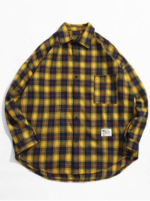 Chemise à Carreaux avec Poche et Boutons - Jaune L Mobile