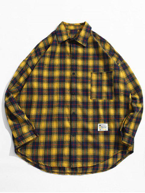 chic Plaid Pocket Button Up Shirt - YELLOW 2XL Mobile