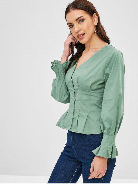 women ZAFUL V Neck Skirted Blouse - DARK SEA GREEN XL Mobile