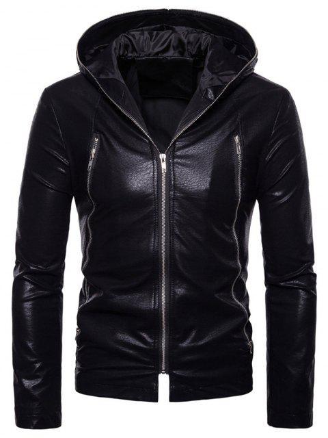 Veste en Cuir PU de Couleur Unie avec Fermeture Éclair - Noir XL Mobile