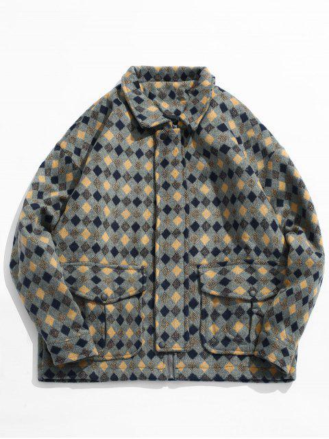 fancy Geometric Print Pockets Woolen Jacket - LIGHT KHAKI L Mobile