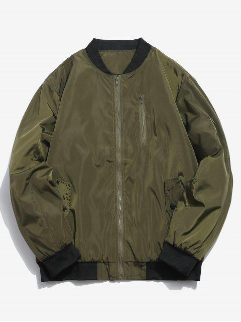 women's Ribbed Edge Padded Bomber Jacket - ARMY GREEN S Mobile